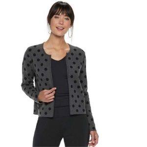 ELLE Gray Black Polka Dot Cardigan Sweater Jacket